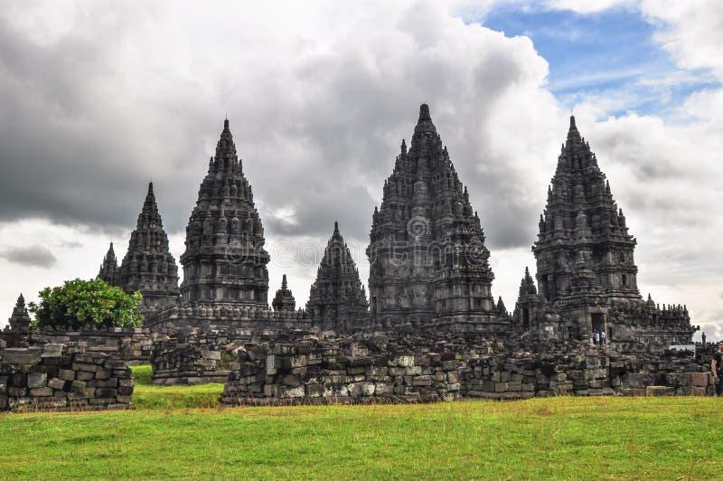 Buddisttempel Borobudur Prombanan complex in Yogjakarta in Java royalty-vrije stock afbeeldingen