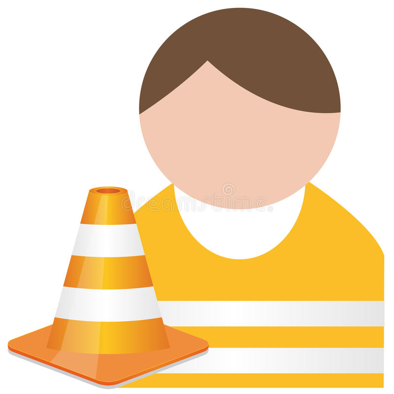 Download Buddy In Orange  Safety Vest With Traffic Cone Stock Vector - Illustration: 31402355
