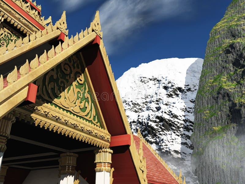 Buddyjska świątynia w gór 3d renderingu ilustracji