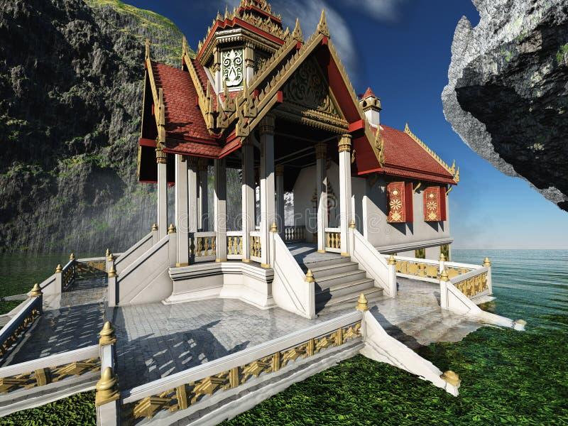 Buddyjska świątynia w gór 3d renderingu royalty ilustracja