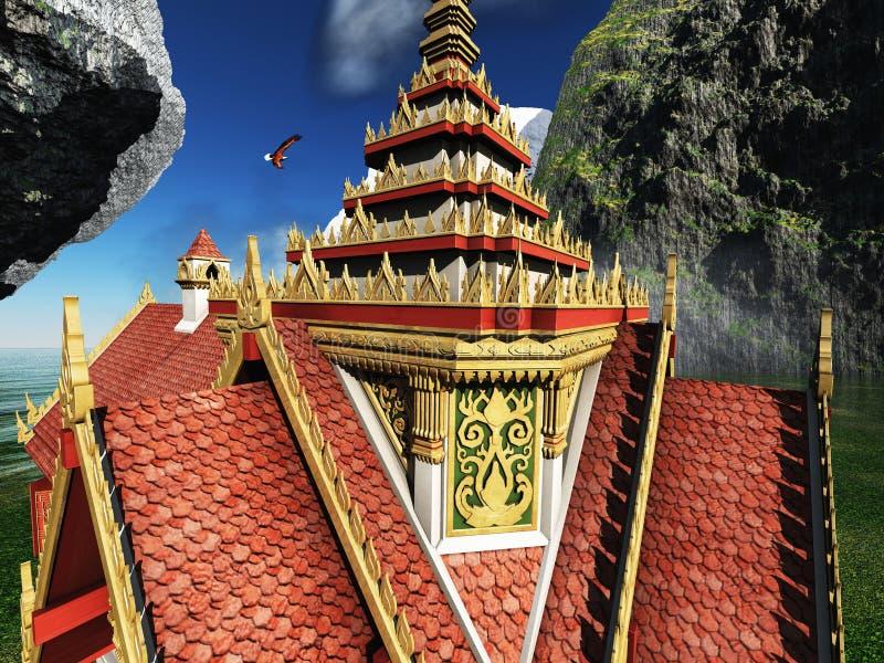 Buddyjska świątynia w gór 3d renderingu ilustracja wektor