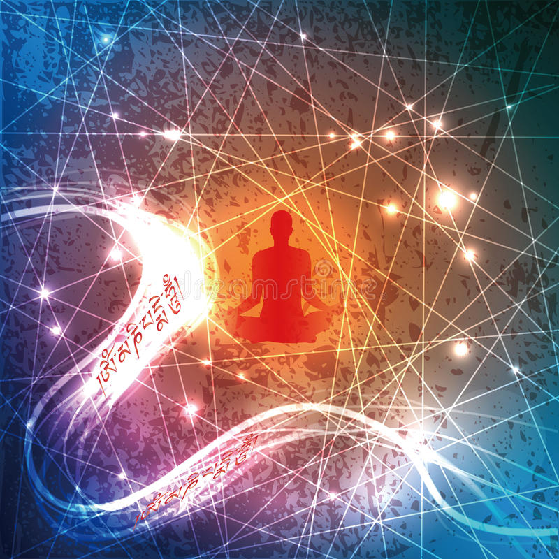 Buddyjska mantra i kontemplator royalty ilustracja