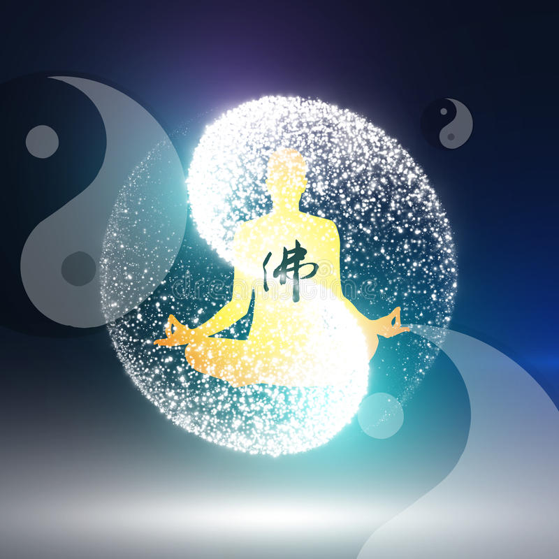 Buddyjska praktyka royalty ilustracja