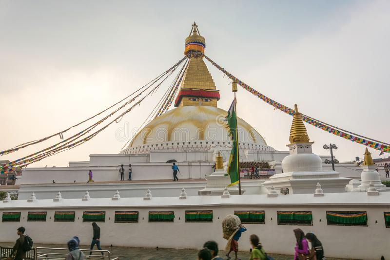 Buddyjska stupa Bodnath Marzec 26, 2018 w Kathmandu, Nepal fotografia stock