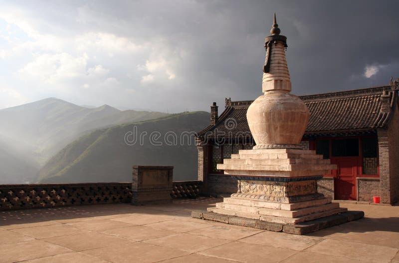 Buddyjska stupa Przy położenia słońcem W Nanshan świątyni, Wutaishan, obrazy royalty free