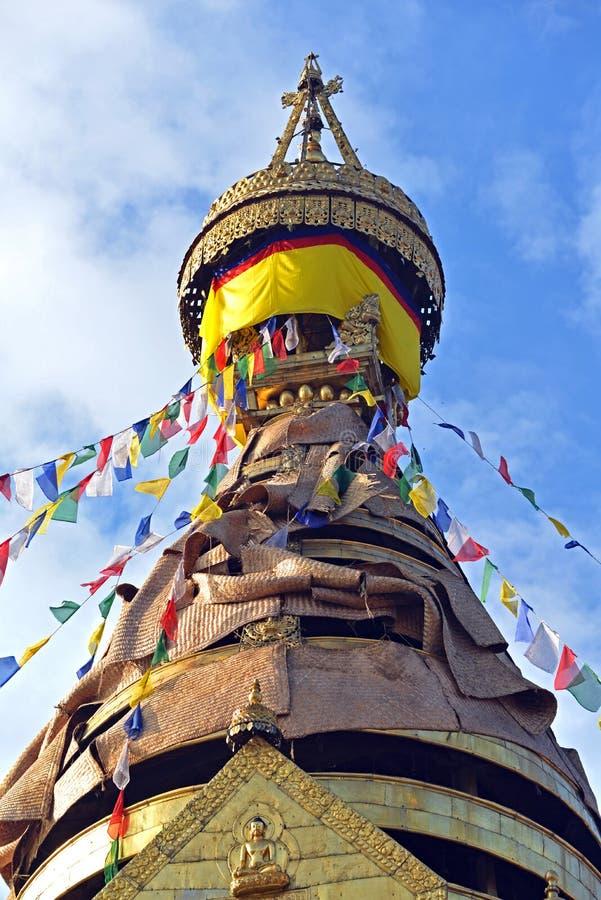 Buddyjska stupa Swayambhunath, Kathmandu zostawał nietkniętą póżniej zdjęcia stock