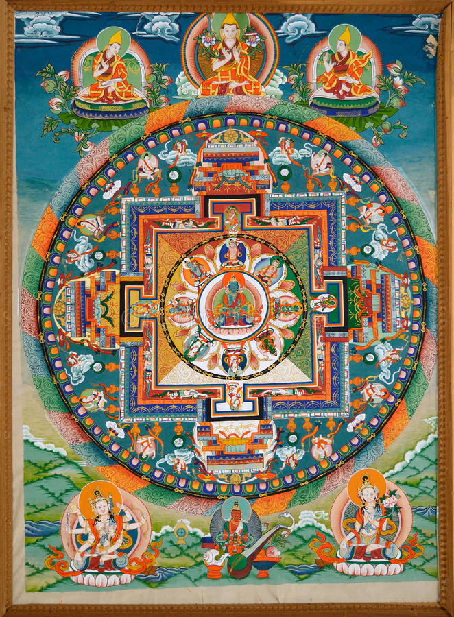 Buddyjski fresk obraz royalty free
