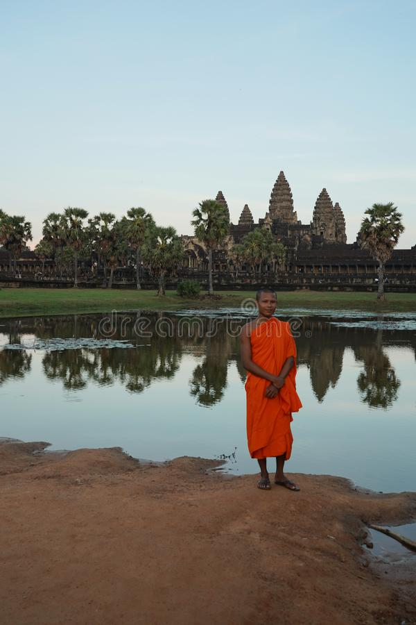 Buddyjski mniszek w Angkor Wat Temple w Siem Reap, Kambodża zdjęcia stock