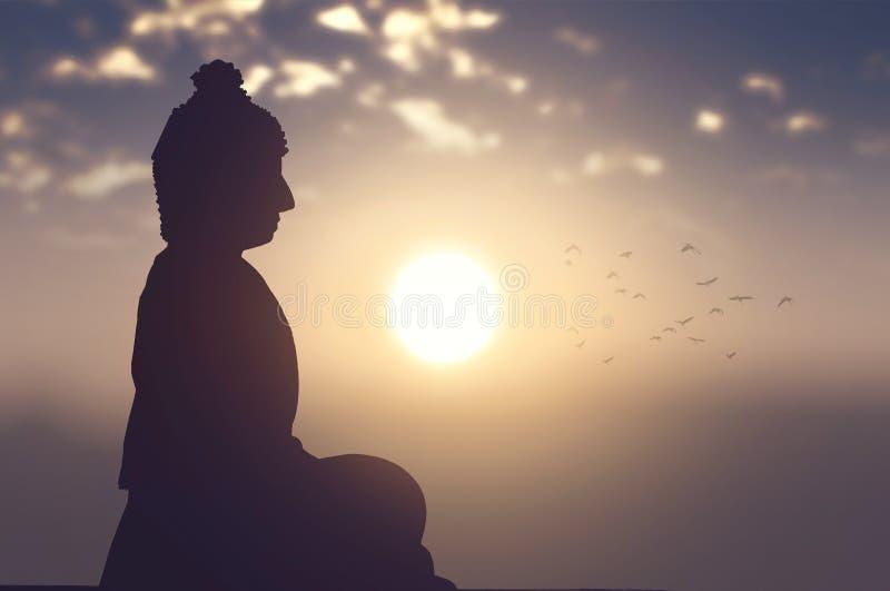 Buddyjski pojęcie: Vesak dnia sylwetka Buddha z zamazaną podróżą obrazy stock