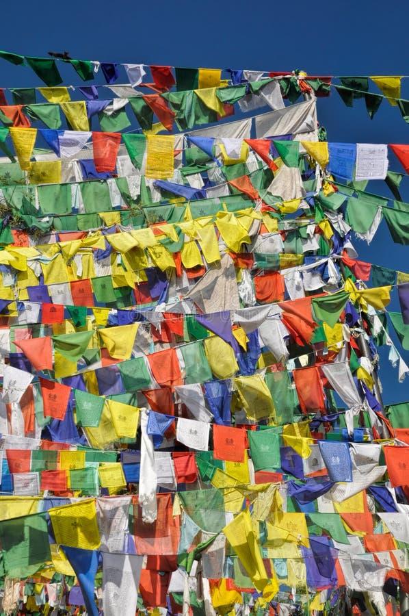 Buddyjskie modlitw flaga w Dharamshala, India obrazy royalty free