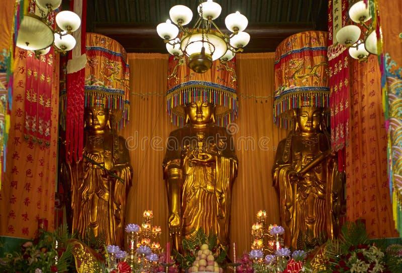 Buddyjskie statuy w Zhanshan świątyni, Qingdao zdjęcie royalty free