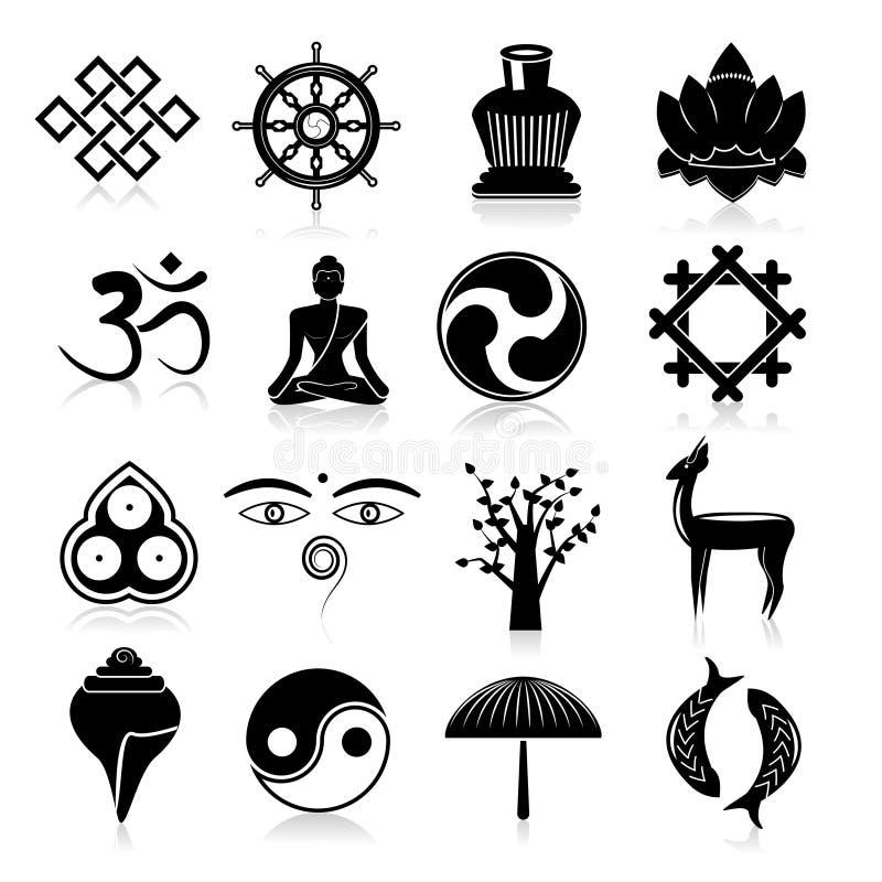Buddyzm ikony ustawiają czerń ilustracja wektor