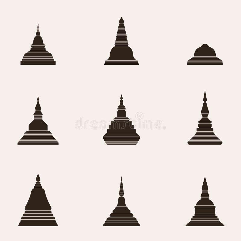 Buddyzm stupy Tajlandzki styl - wektor ilustracji