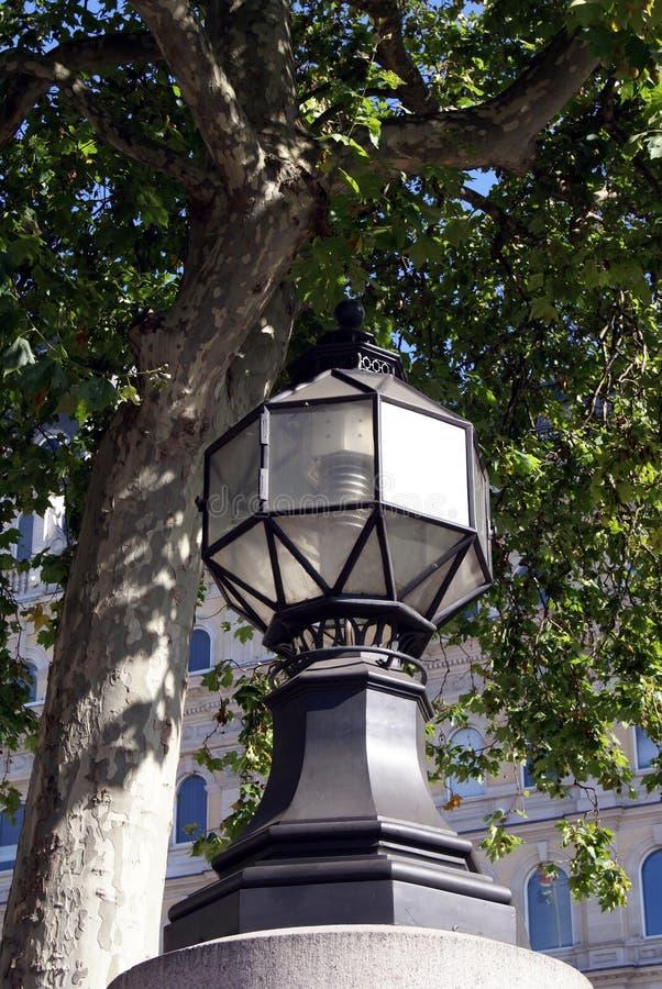 Bude ljus Dekorativ gaslampa för tappning i Trafalgar Square, London, England royaltyfri fotografi