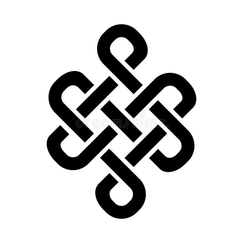 Budella di Buddha il nodo eterno - simbolo di inseparabilità dell'esistenza nell'universo illustrazione di stock