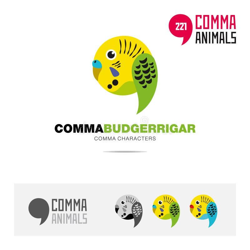 Budgerrigar波浪鹦鹉鸟概念象集合和现代品牌身份商标模板和根据逗号的app标志签字 皇族释放例证