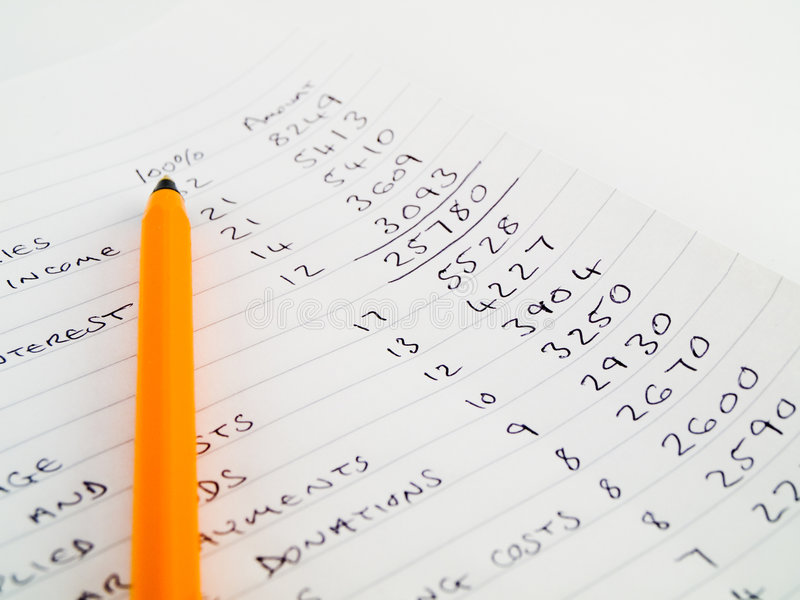 Budget à la maison manuscrit sur le papier rayé photos libres de droits