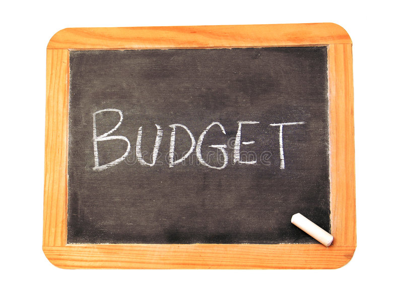 Budget. Chalkboard with 'Budget' written on it
