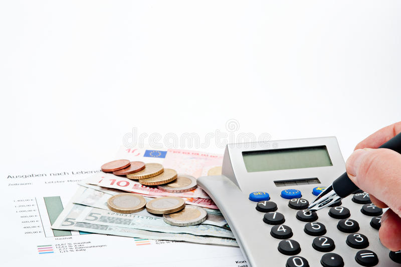 Budget. Illustration of a budget with money Euros royalty free stock photography