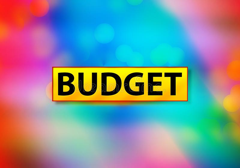 Budget Abstract Colorful Background Bokeh Design Illustration. Budget Isolated on Yellow Banner Abstract Colorful Background Bokeh Design Illustration stock illustration