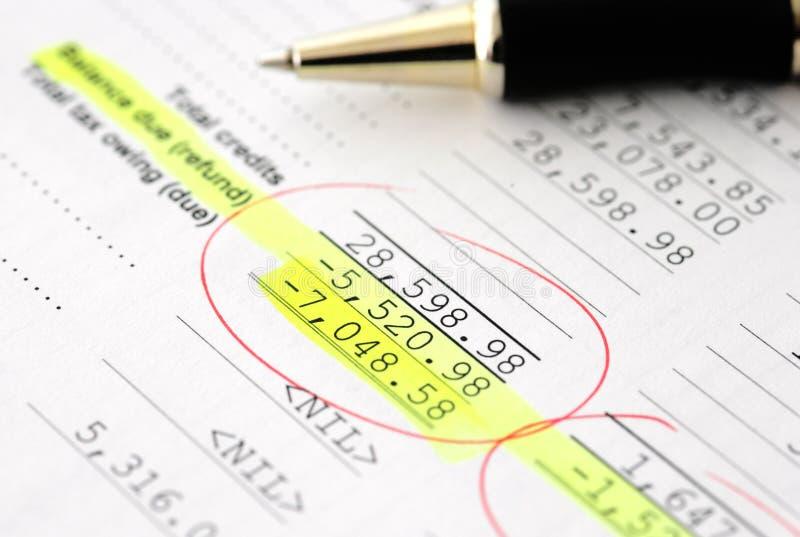 budget- affär som beräknar finansiella resultat arkivbild