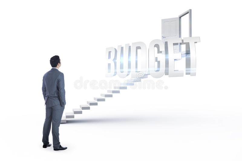 Budget against white steps leading to open door. The word budget and businessman standing against white steps leading to open door royalty free stock image