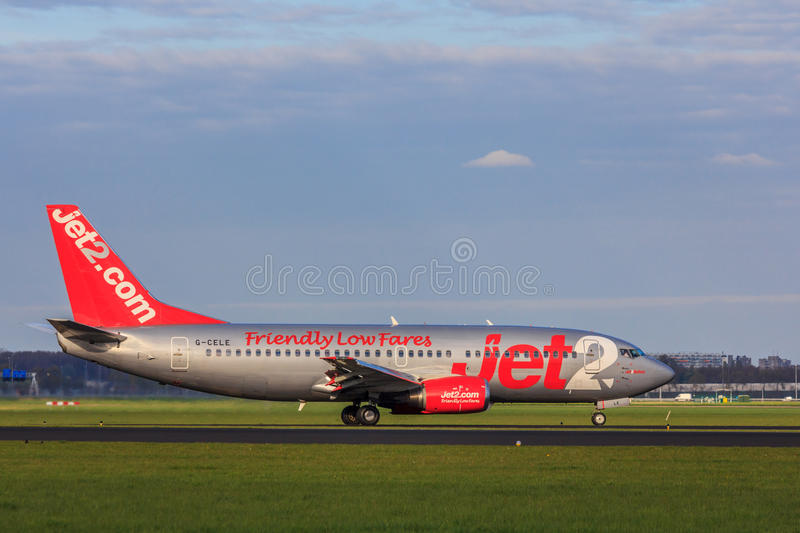 Budget airline Jet2 landing at Amsterdam Schiphol Airport. Schiphol airport, the Netherlands - April 14, 2017: Budget airline Jet2 landing at Amsterdam Schiphol stock photo