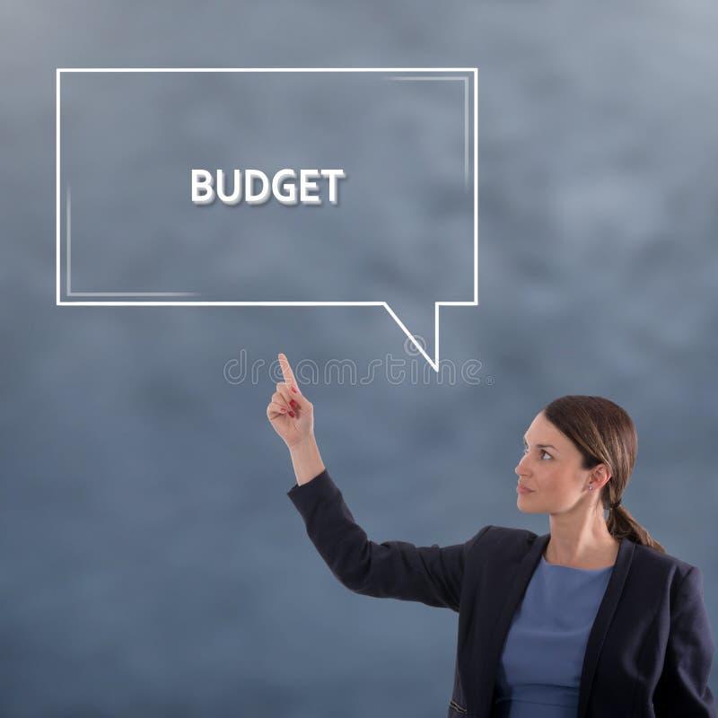 BUDGET- BEGREPPSaffärsidé Begrepp för diagram för affärskvinna royaltyfri bild