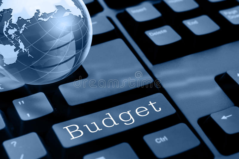 Budget. Black computer keyboard with 'budget' button stock image
