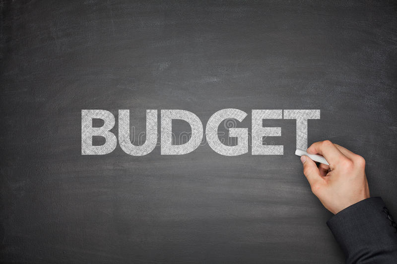 Budget on Blackboard stock photos