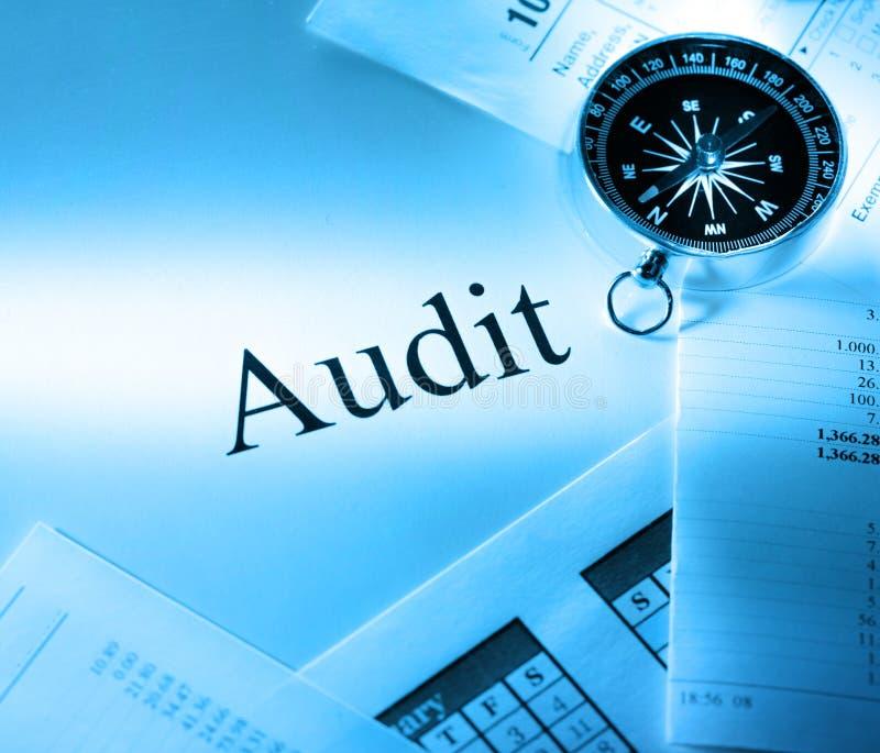 Budget, calendrier, boussole et audit photo stock