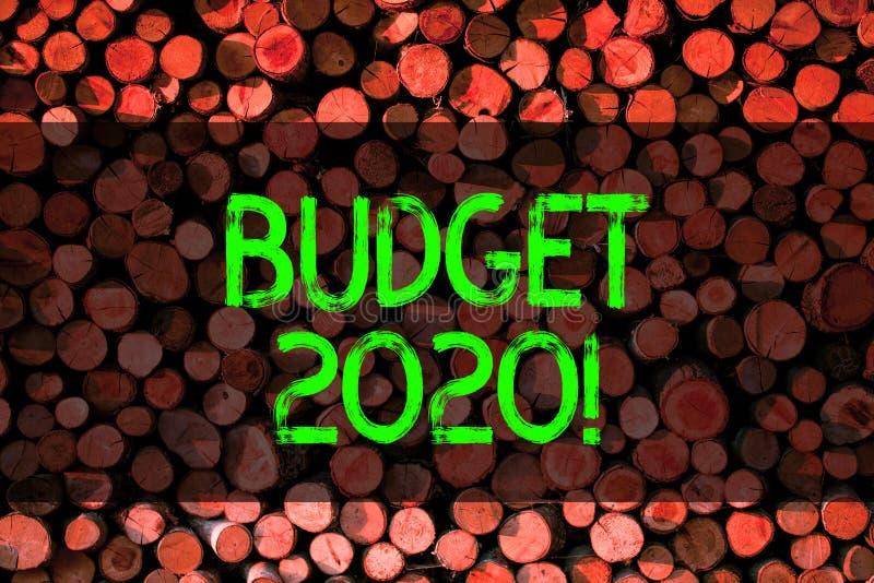 Budget conceptuel 2020 d'apparence d'écriture de main Évaluation de présentation de photo d'affaires des revenus et dépenses pour images libres de droits