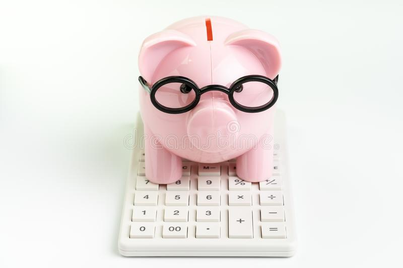 Budget, cost or investment calculation and financial activity concept, pink piggy bank wearing glasses on white calculator on. White background stock photos