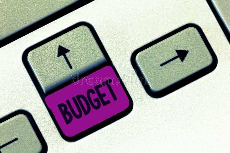 Budget des textes d'écriture de Word Concept d'affaires pour l'évaluation définie des revenus et dépenses pour la période d'ensem photographie stock