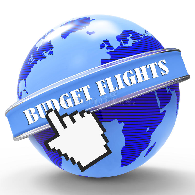 Budget Flights Shows Cut Price And Affordable. Budget Flights Representing Cut Price And Flying royalty free illustration