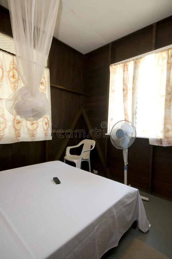 Budget guest house room with mosquito net