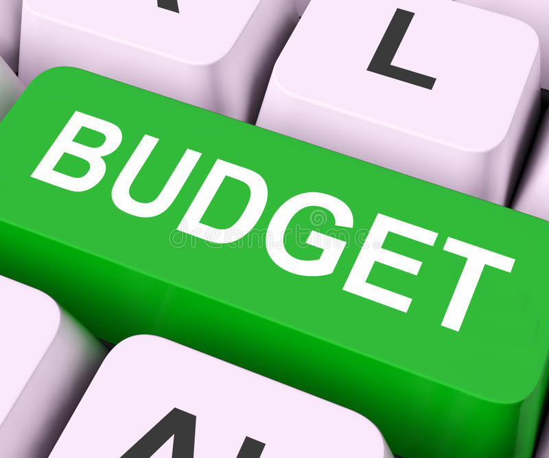 Budget Key Means Allowance Or Spending Plan. Budget Key On Keyboard Meaning Allowance Allocation Or Spending Plan royalty free stock images