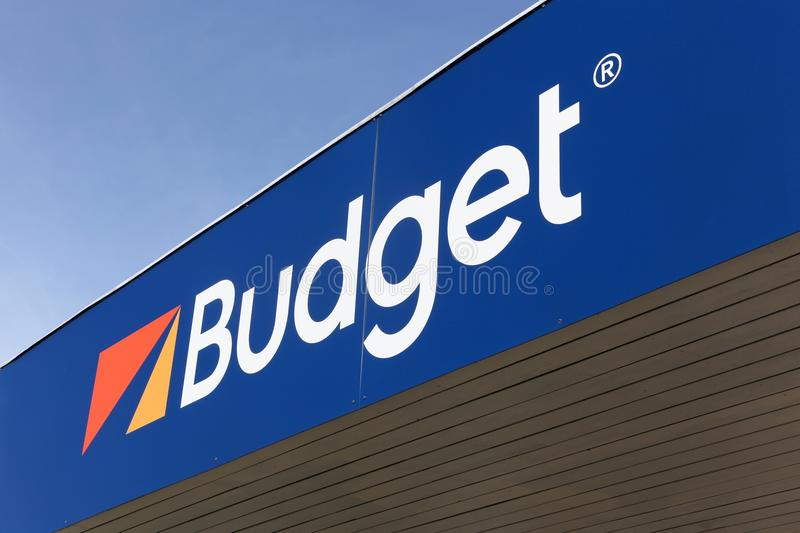 Budget logo on a wall royalty free stock image