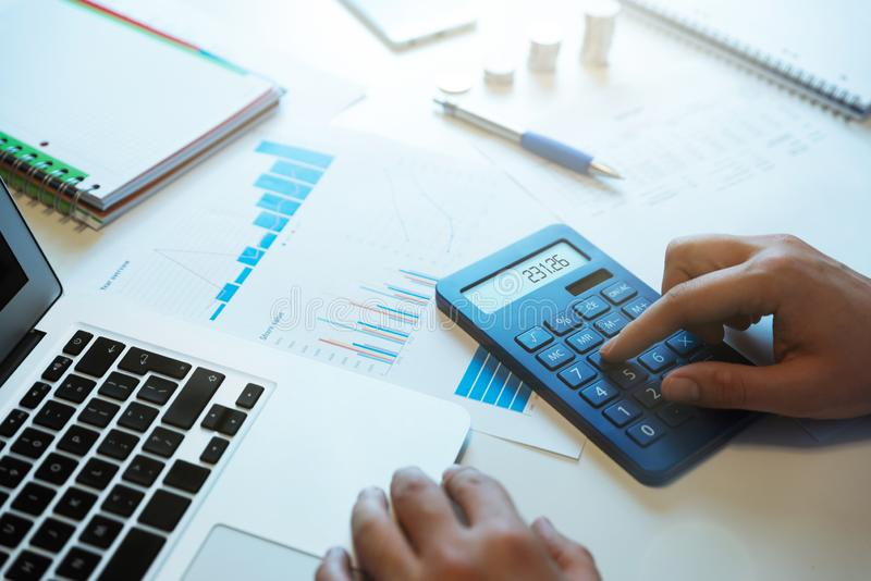 Budget planning concept. Savings calculations stock image