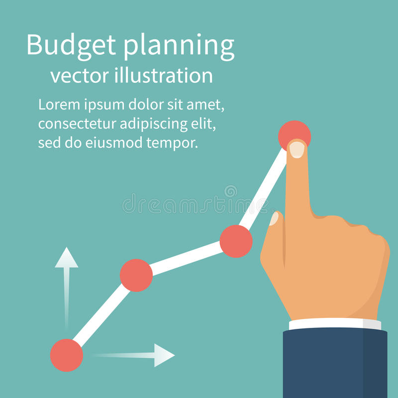 Budget planning concept. Tablet with business chart. Financial diagram. Profit growth, investment. Vector illustration flat design. Isolated on background royalty free illustration