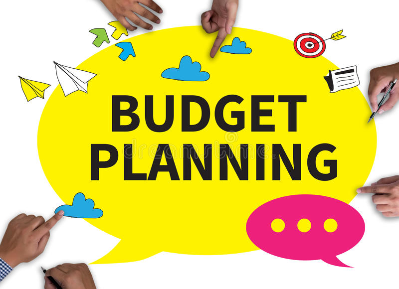 BUDGET PLANNING. With wooden frame on white background royalty free stock photo