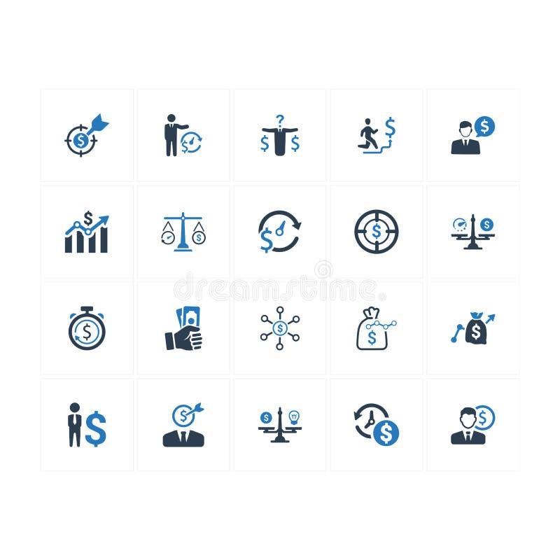 Budget- plansymboler - blå version stock illustrationer