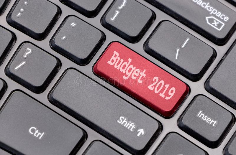 Budget 2019 on red enter key, of a black keyboard. Budget 2019 on red enter key, of a black keyboard stock image