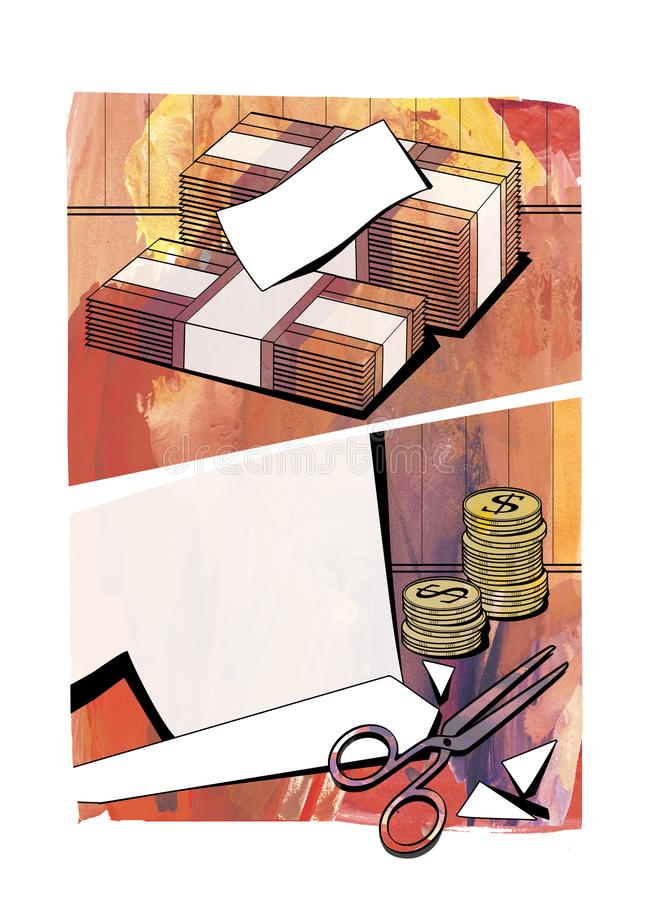 Budget reduction. Budget cuts - bundles of banknotes, columns of coins with the dollar sign, cut paper and scissors. royalty free illustration