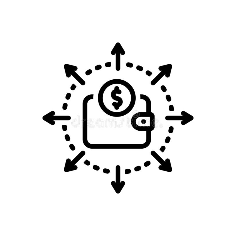 Black line icon for Budget Spending, budget and expense. Black line icon for Budget Spending, accounting, balance, cash, investment, saving,  budget and expense royalty free illustration