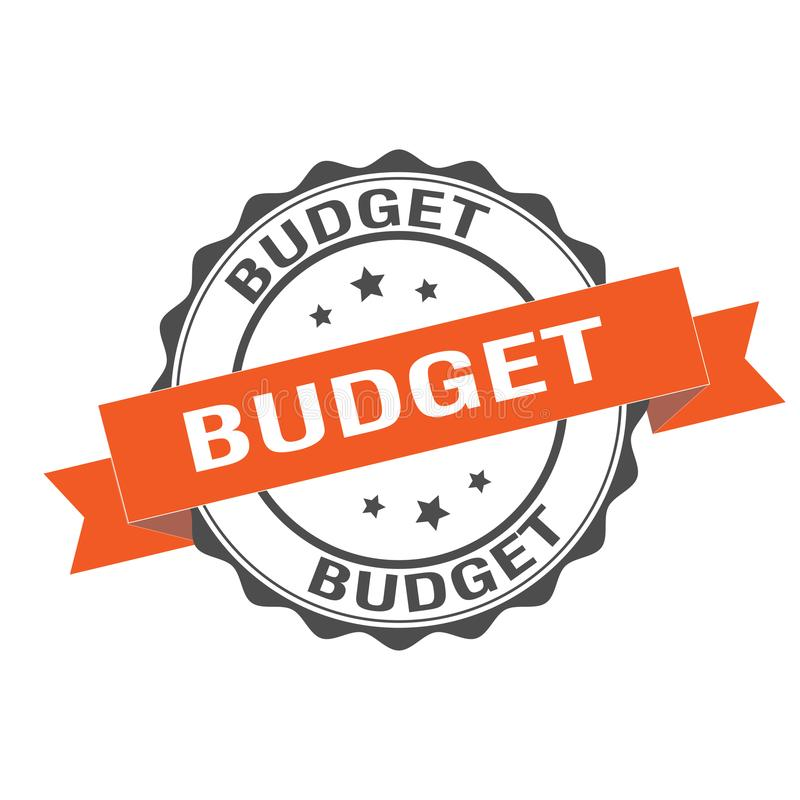 Budget- stämpelillustration vektor illustrationer