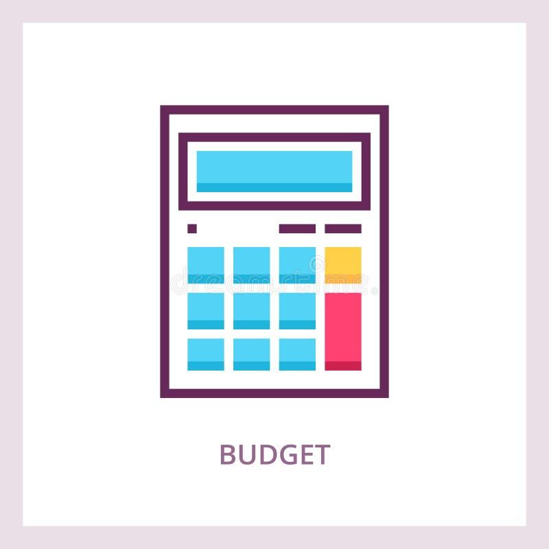 Budget- symbol Beräkna och planera begrepp Linjär pictogram för vektor vektor illustrationer