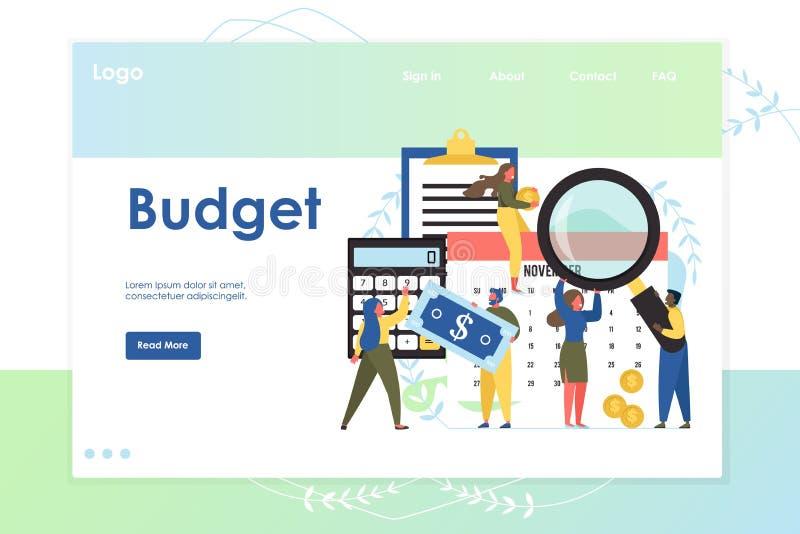 Budget vector website landing page design template. Budget vector website template, web page and landing page design for website and mobile site development royalty free illustration
