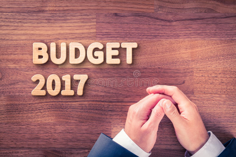 Budget for year 2017. Businessman (accountant, financial manager) plan budget for year 2017 stock photos