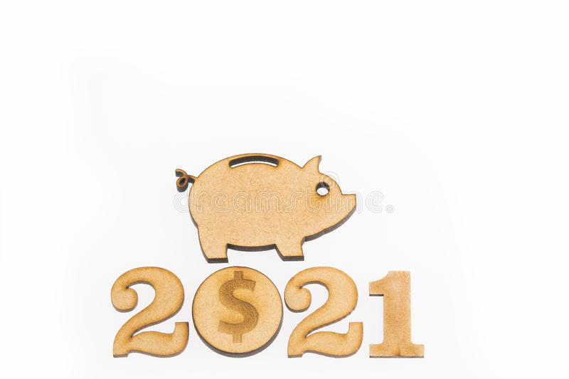 Budget for the year 2021 - Savings concept. Top view stock image